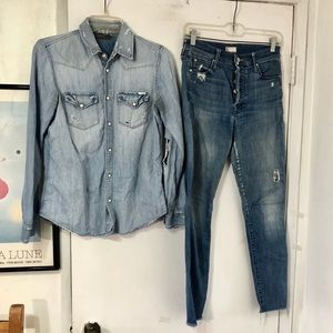 MOTHER Outfit Denim Shirt Stunner Ankle Fray Jeans